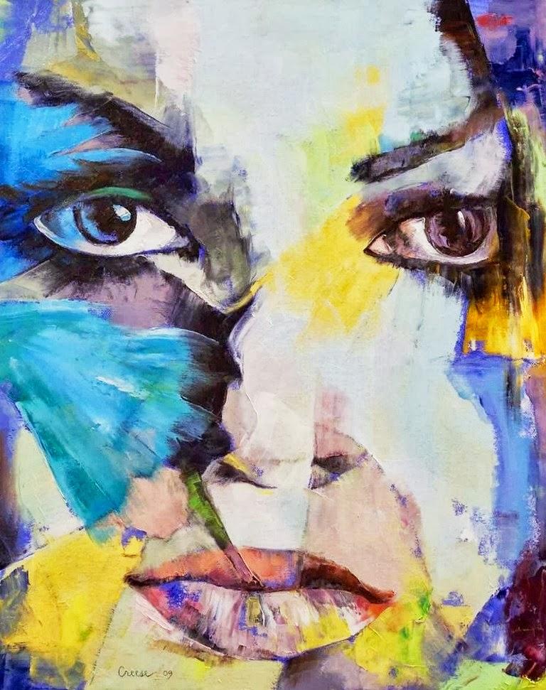 Pinturas rostros femeninos arte moderno abstracto en rostros