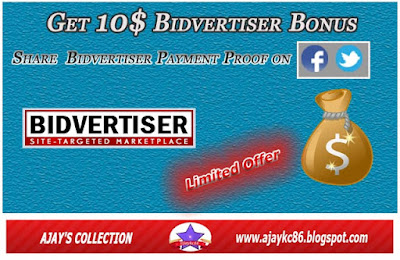 Bidvertiser free $10 Bonus Offer for Sharing Payment Proof on FB-Twitter