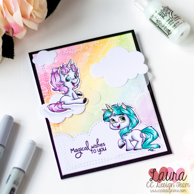 Rainbow Scene Card CC Designs Unicorns