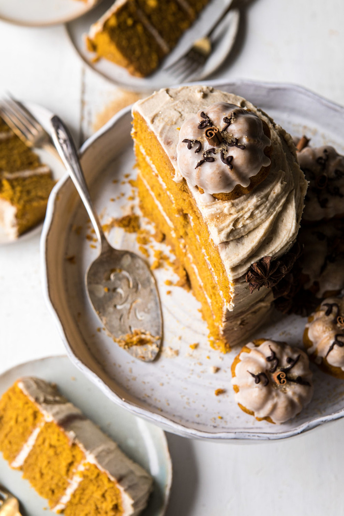 chai pumpkin cake with maple browned butter frosting.