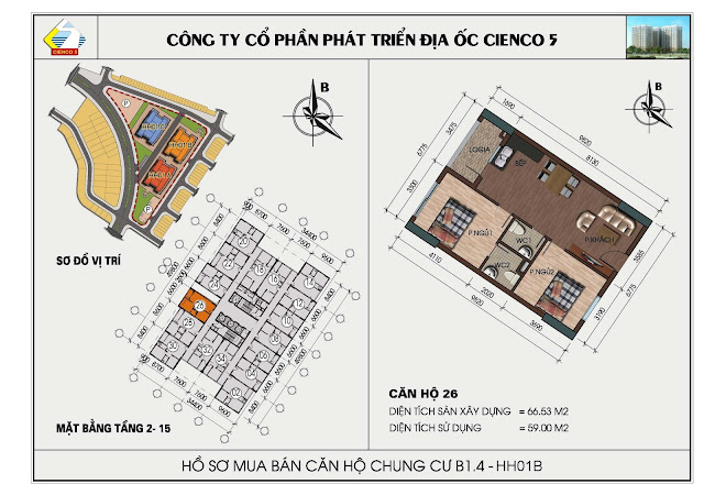 Sơ đồ căn hộ chung cư B1.4 căn 26 tòa HH01B