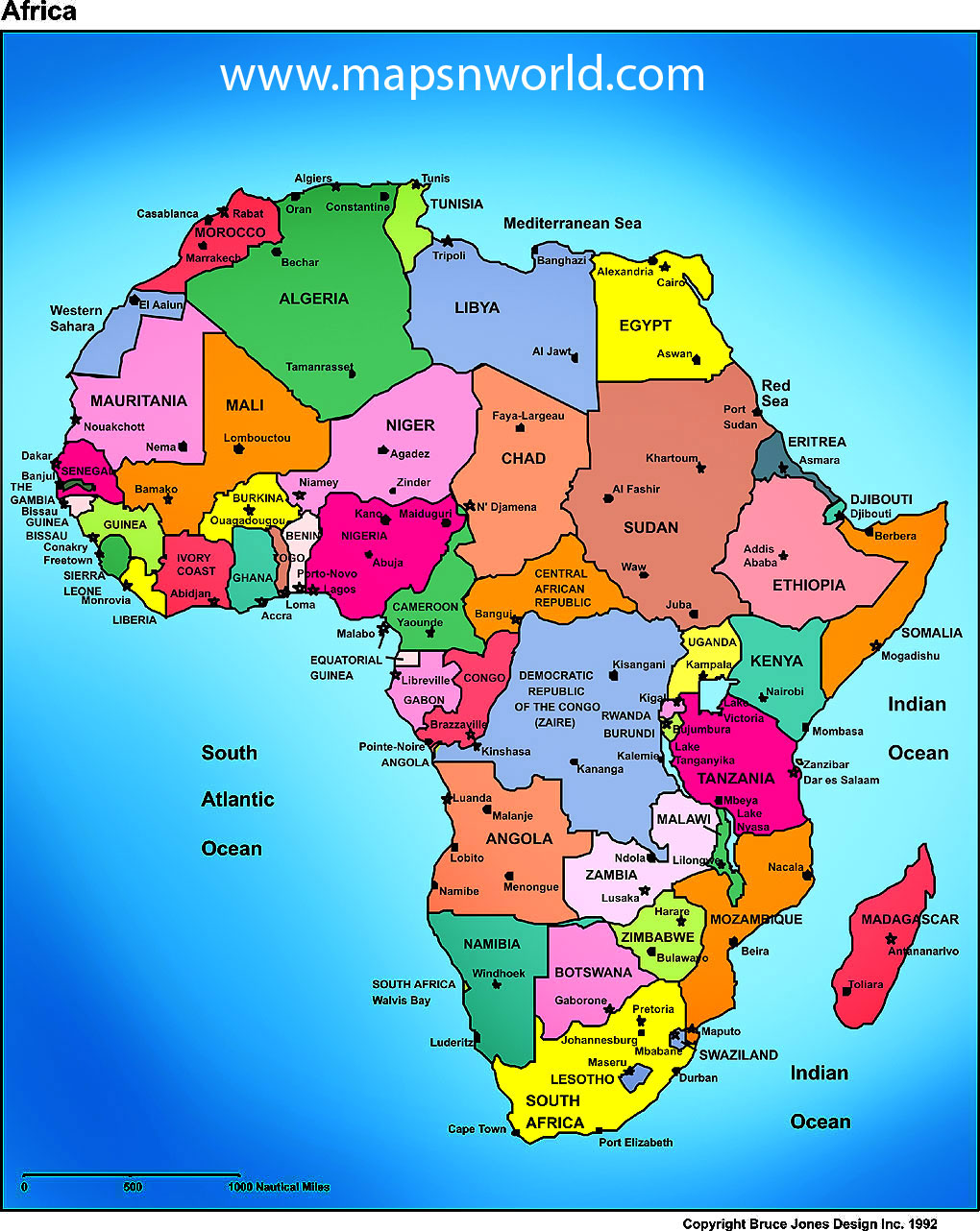 Africa Map Region Country   Map of World Region City