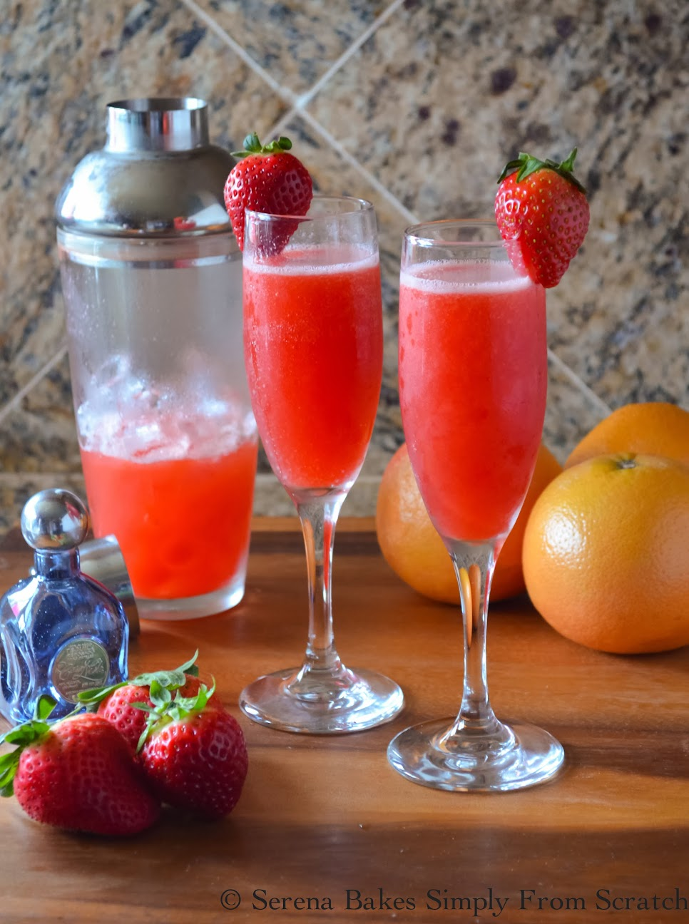 Strawberry Grapefruit Mimosas with 40 other Cocktail and Appetizer Recipes to get your party started!