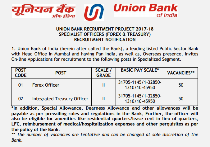 Union Bank Specialist Officers Recruitment 2017 Notification Out