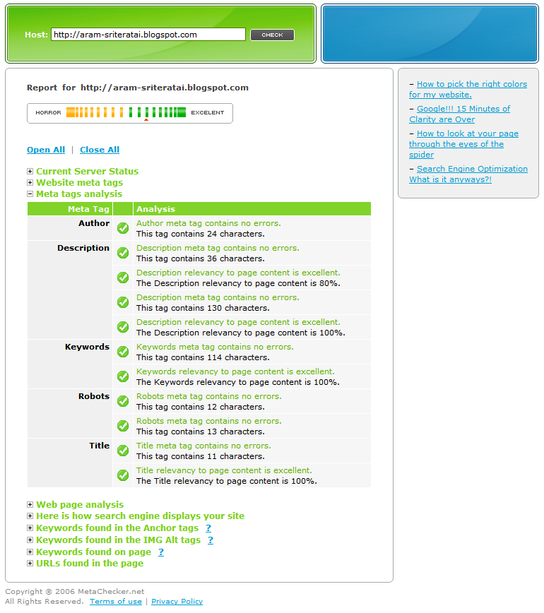 Meta Tag Analyzer : Panduan menguji meta tag seo metachecker black