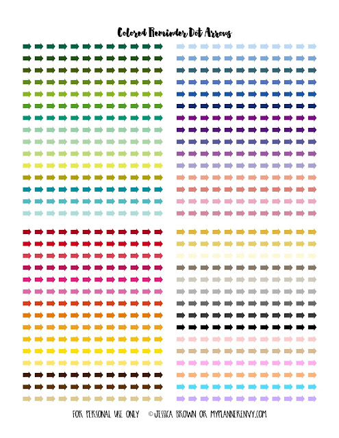 Free Printable Colored Reminder Dot Arrows on myplannerenvy.com
