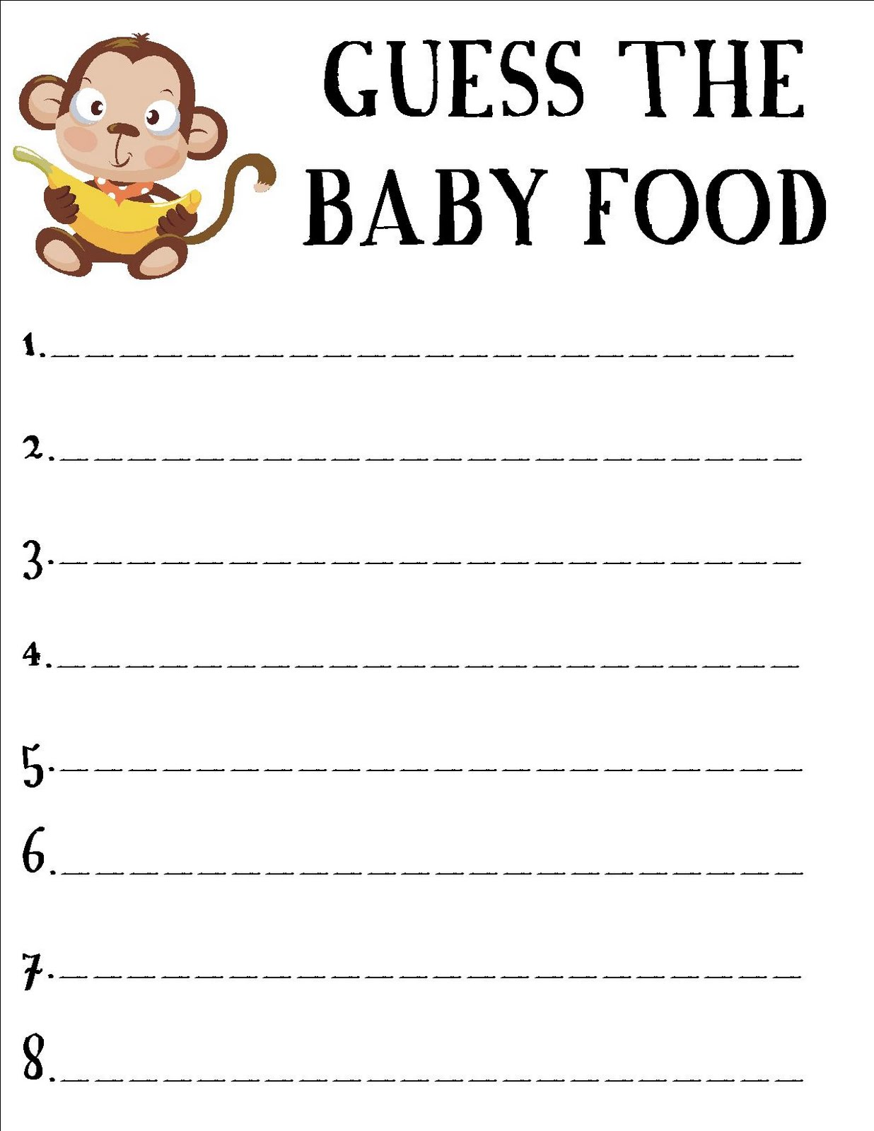 Baby Food Guessing Game Free Printable