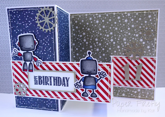 Double z fold card with cute robots