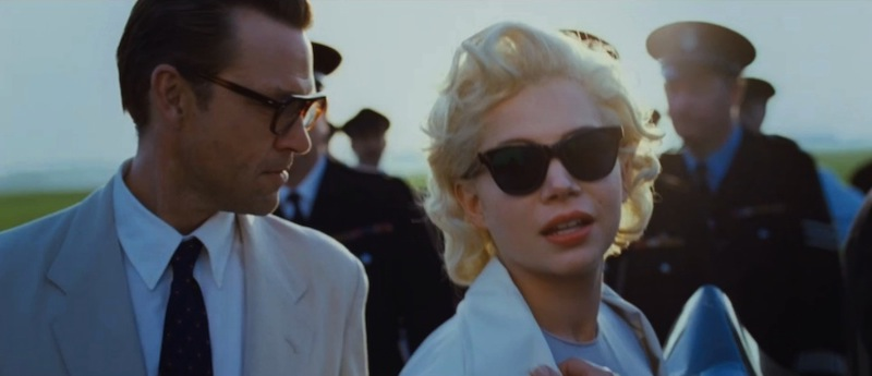 Dougray Scott as Arthur Miller and Michelle Williams as Marilyn Monroe in sunglasses