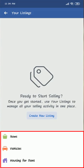 Facebook Marketplace Create New Lisitng - Android
