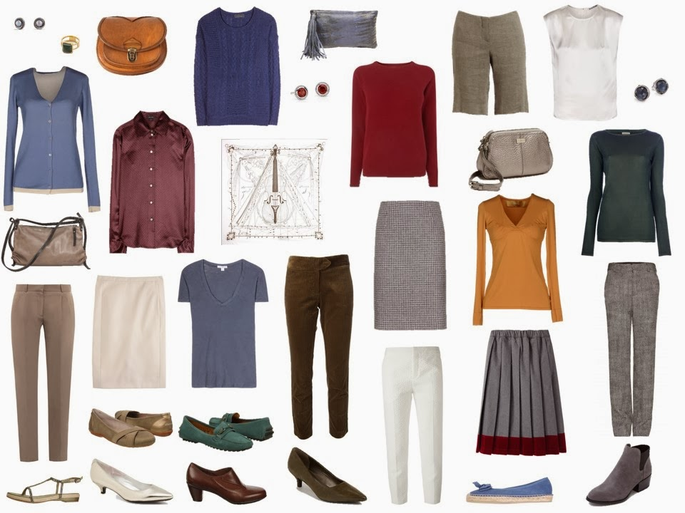travel capsule wardrobe based on Hermes Musique des Spheres silk scarf