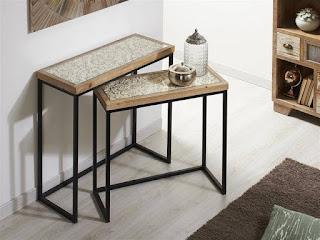mesas nido de forja y madera tallada