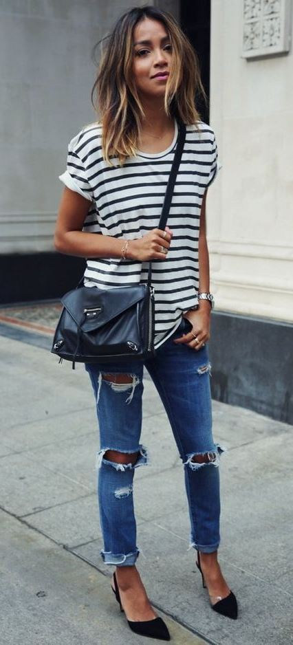 casual style perfection / bag + striped top + ripped jeans + black heels