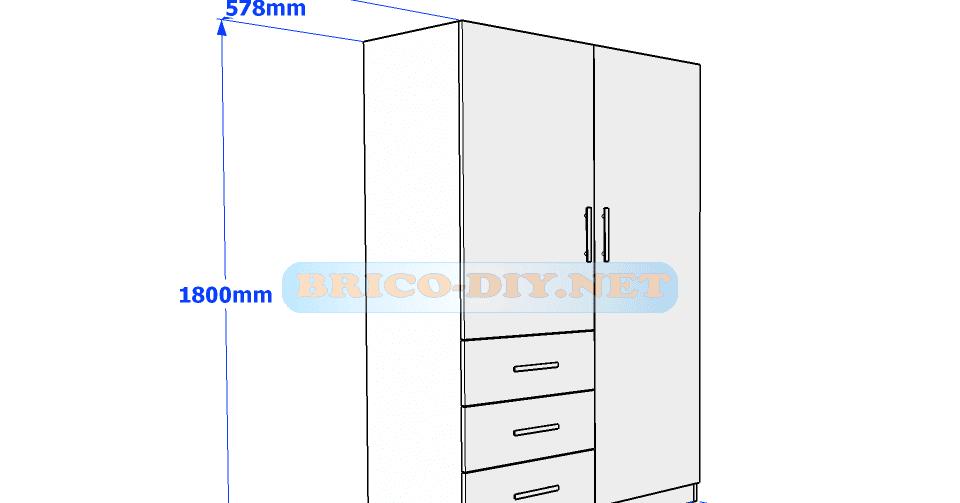 Plano de ropero guardarropa de melamina blanco con gavetas for Curso de carpinteria en melamina pdf