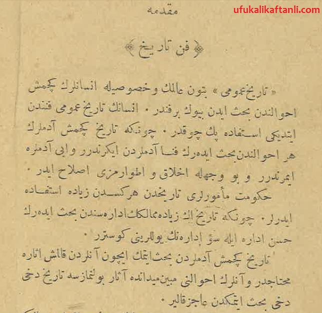 Tarihin Faydalarını Anlatan Osmanlı Türkçesi Metin - Kısım 1