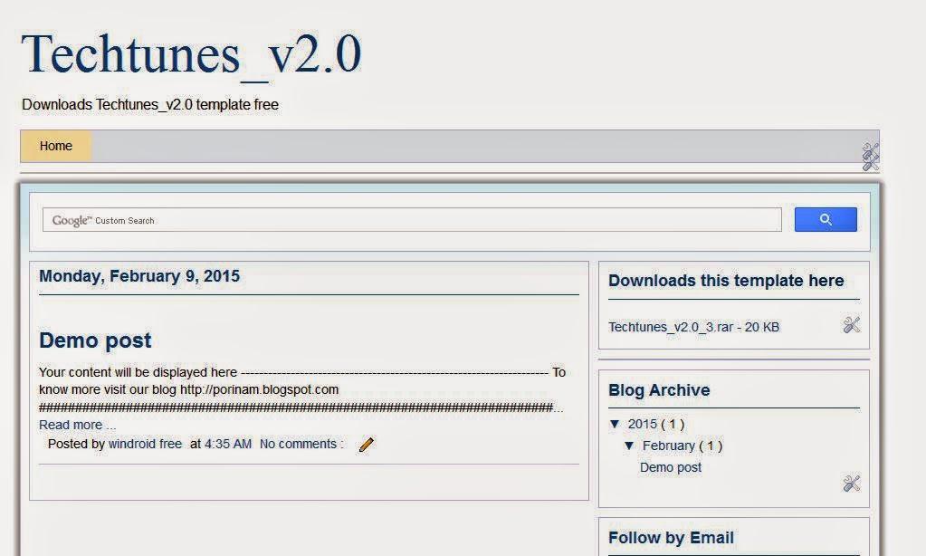 Techtunes Blogger template Downloads free