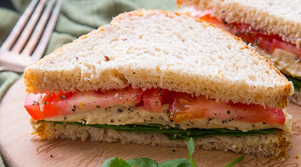 Tomato, Hummus, and Spinach Sandwich
