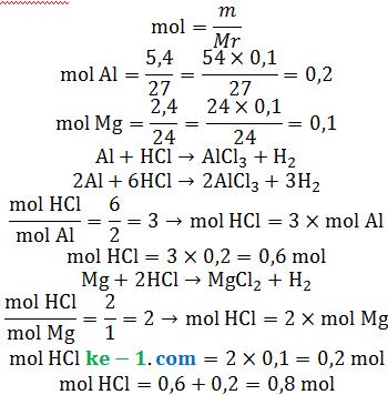 mol asam klorida hcl