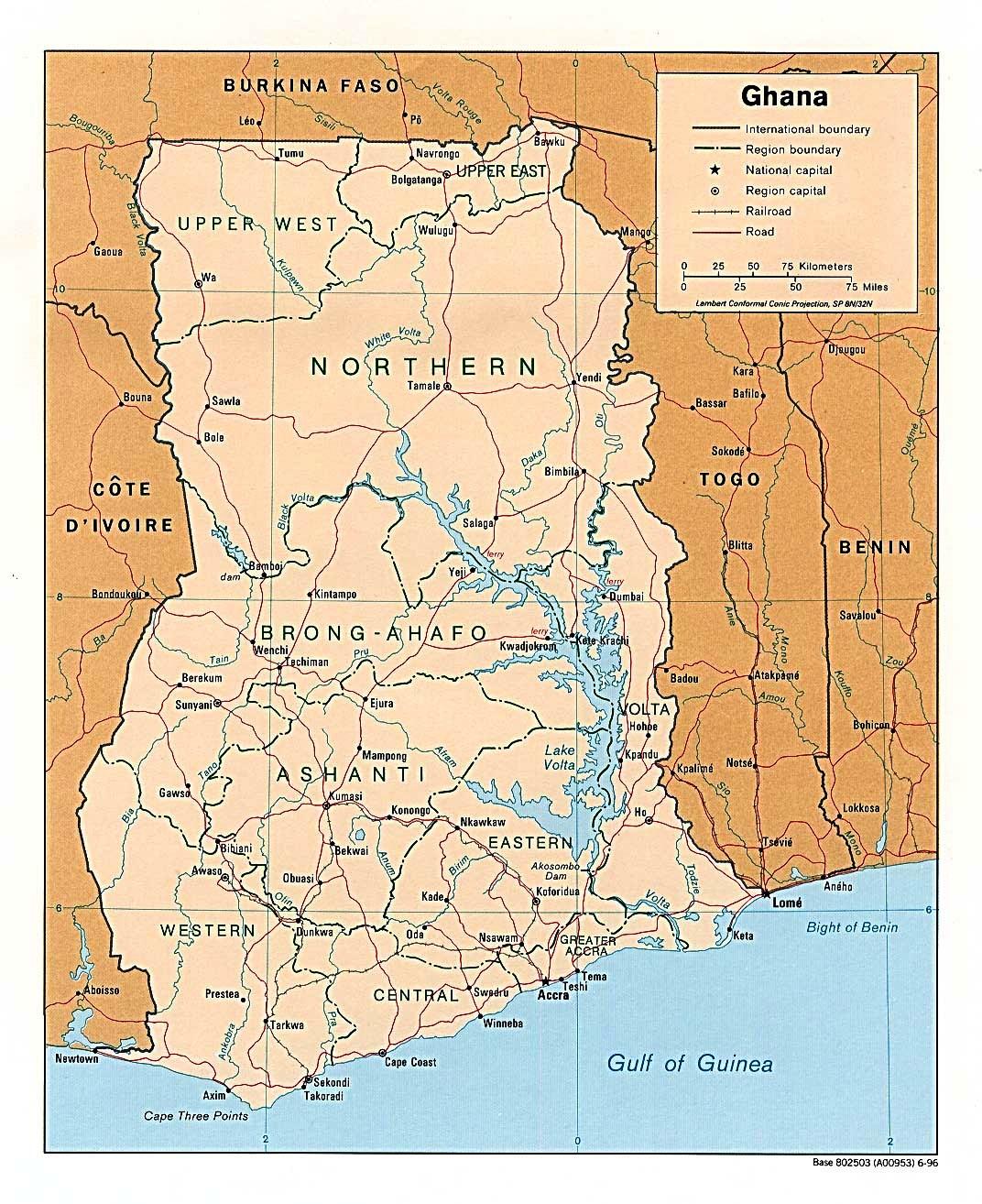 Ghana Karte.Ghana Weltatlas