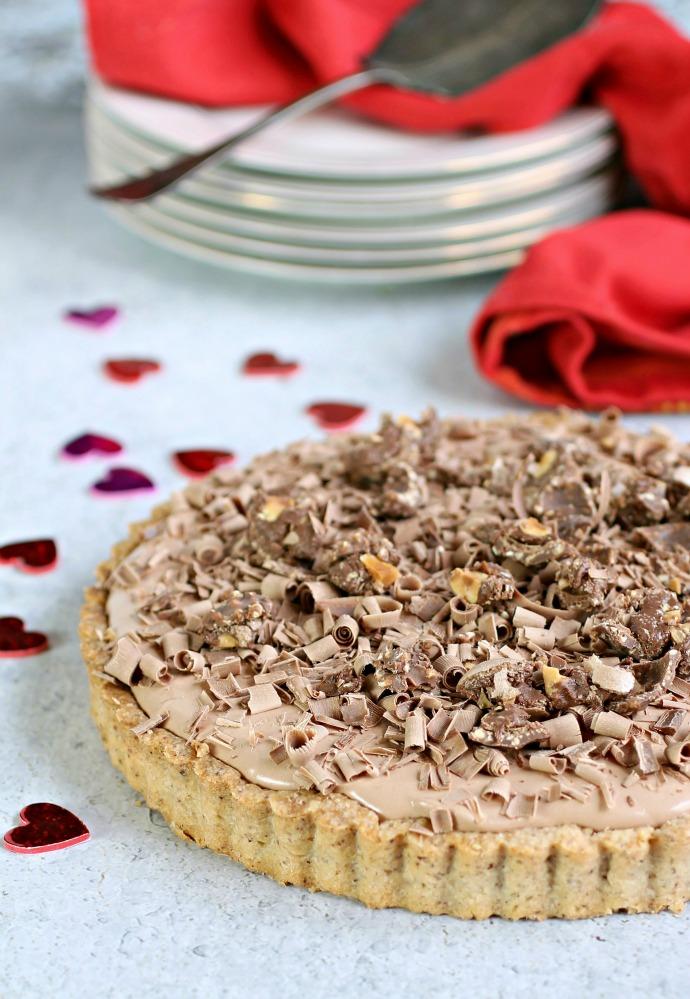 Recipe for a chocolate cream pie with a hazelnut crust.