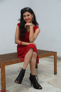 Mounika Telugu Actress in Red Sleeveless Dress Black Boots Spicy Pics 047.JPG