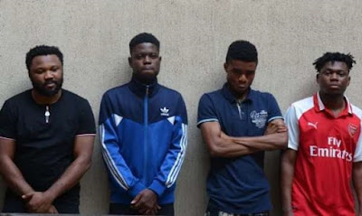 EFCC arrests six yahoo boys with 10 laptops, 17 phones & a car in Abuja