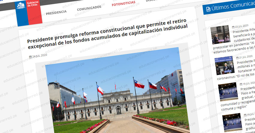 AFP: Presidente de Chile promulga ley que permitirá el retiro del 10% de los fondos de pensiones