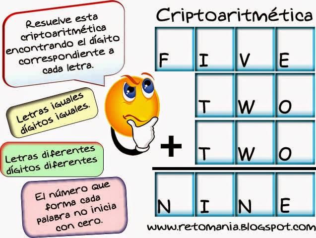 Criptoaritmética, Criptogramas, Criptosumas, Alfaméticas, Juego de letras, Descubre los números, Retos matemáticos, Desafíos matemáticos, Problemas matemáticos, Problemas para pensar, Problemas de lógica
