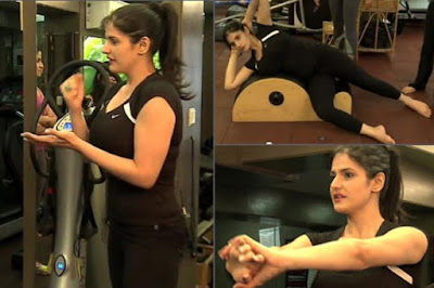 Zareen Khan's Workout Pictures in Gym