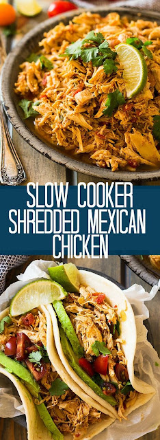 Slow Cooker Shredded Mexícan Chícken