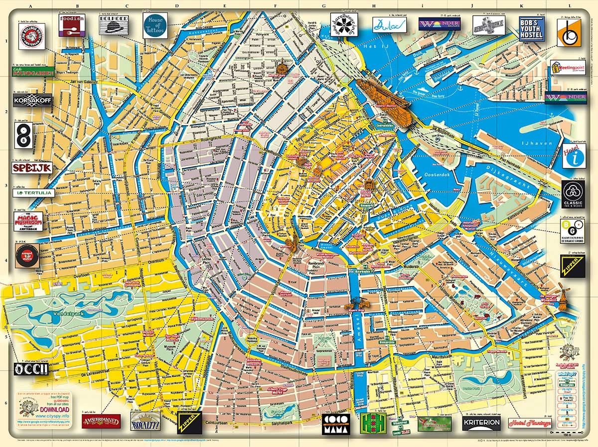 Map of Amsterdam, The Netherlands