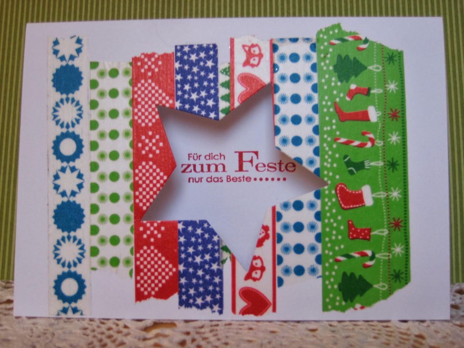 karos kreativ kram einfache weihnachtskarten mit washi tape. Black Bedroom Furniture Sets. Home Design Ideas