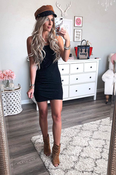 Tank Dress in Black + Steve Madden Boots | 17 Fancy Fall Dresses To Stand Out In The Crowd