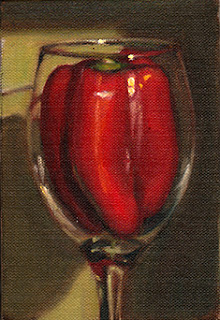 Oil painting of a red pepper inside a large wine glass.