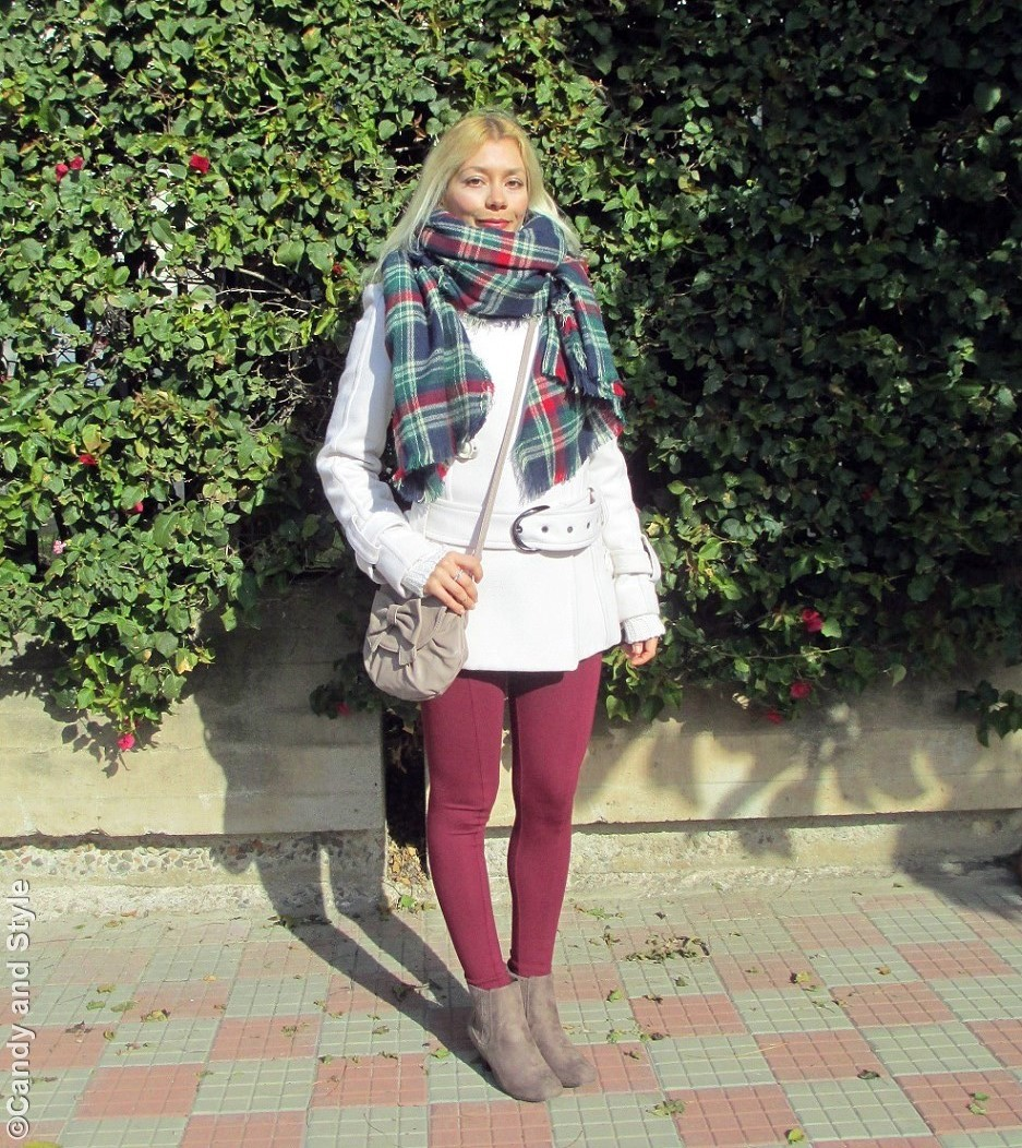 OversizedPlaidScard+WhiteCoat+BurgundyLeggings+BeigeBooties+CrossbodyBag - Lilli Candy and Style Fashion Blog