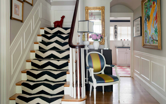navy blue and white chevron stair runner