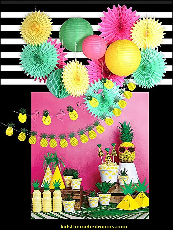 Pineapple Summer Luau Pool Party Tropical Hawaiian Baby Shower Birthday Decoration Paper Pineapple Flamingo Garland Banner