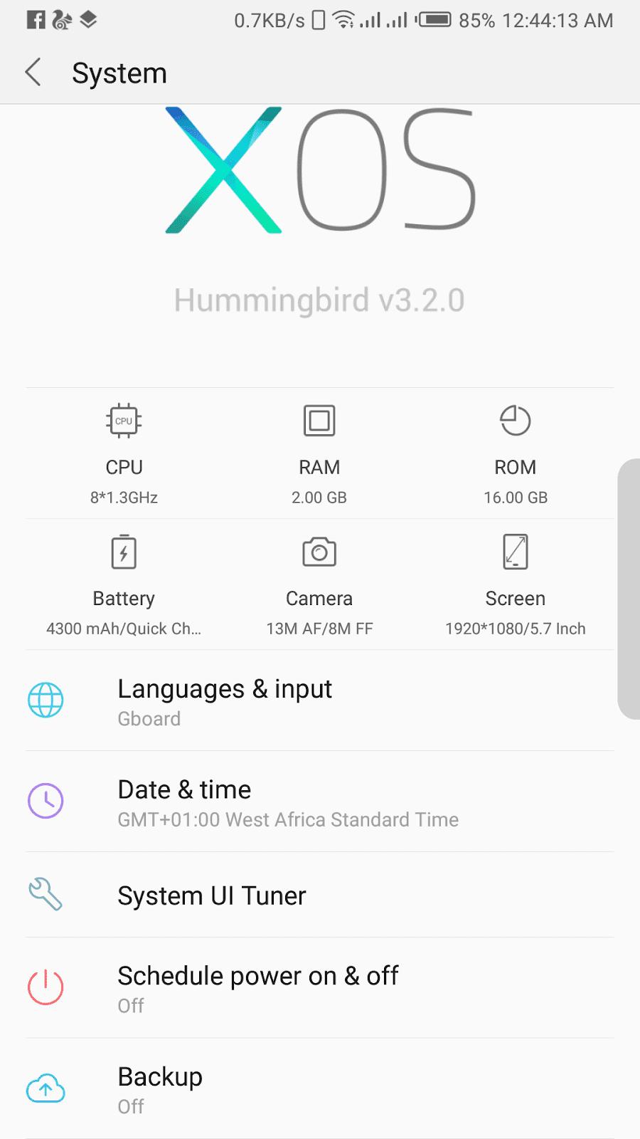 Infinix Note 4 X572 XOS 3.2 Hummingbird