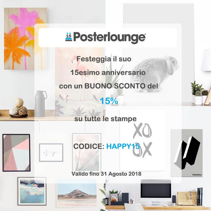 Codice sconto 15% su acquisti sito Posterlounge