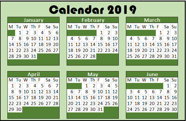 2019 Yearly Calendar start on Monday