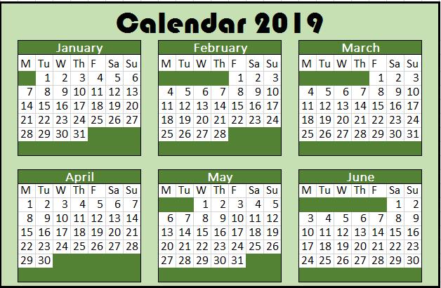 2019 Yearly Calendar start on Monday
