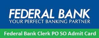 Federal Bank Clerk PO SO Admit Card