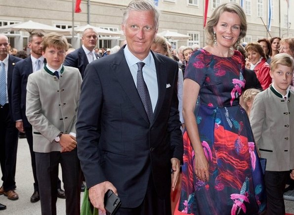 Crown Princess Elisabeth wore MAJE Poplin Shirt Dress. Queen Mathilde, Princess Eleonore, Prince Gabriel and Prince Emmanuel in Austria