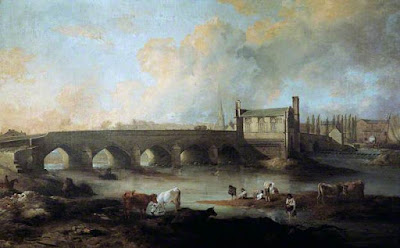 Wakefield Bridge and Chantry Chapel by Philip Reinagle 1793 Public Domian Wikimedia Commons