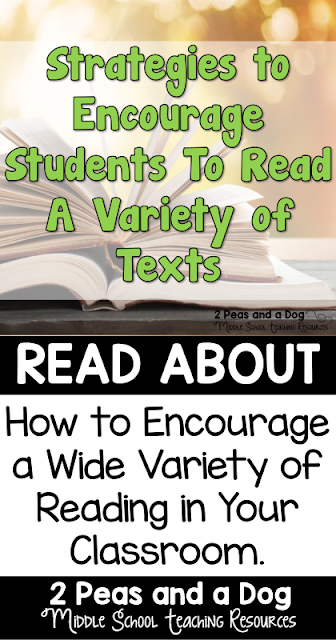 Reading a variety of text in the English Language Arts classroom is very important. Ideas from teachers on how to get students to read a variety of genres from the 2 Peas and a Dog blog.