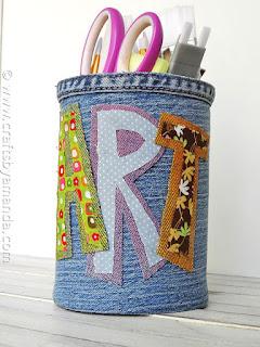 ricicliamo i jeans per un porta penne personalizzato