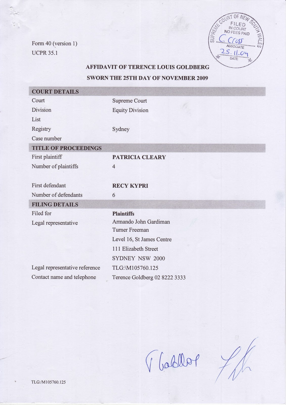 Terence Goldberg's sworn affidavit of 25 November 2009