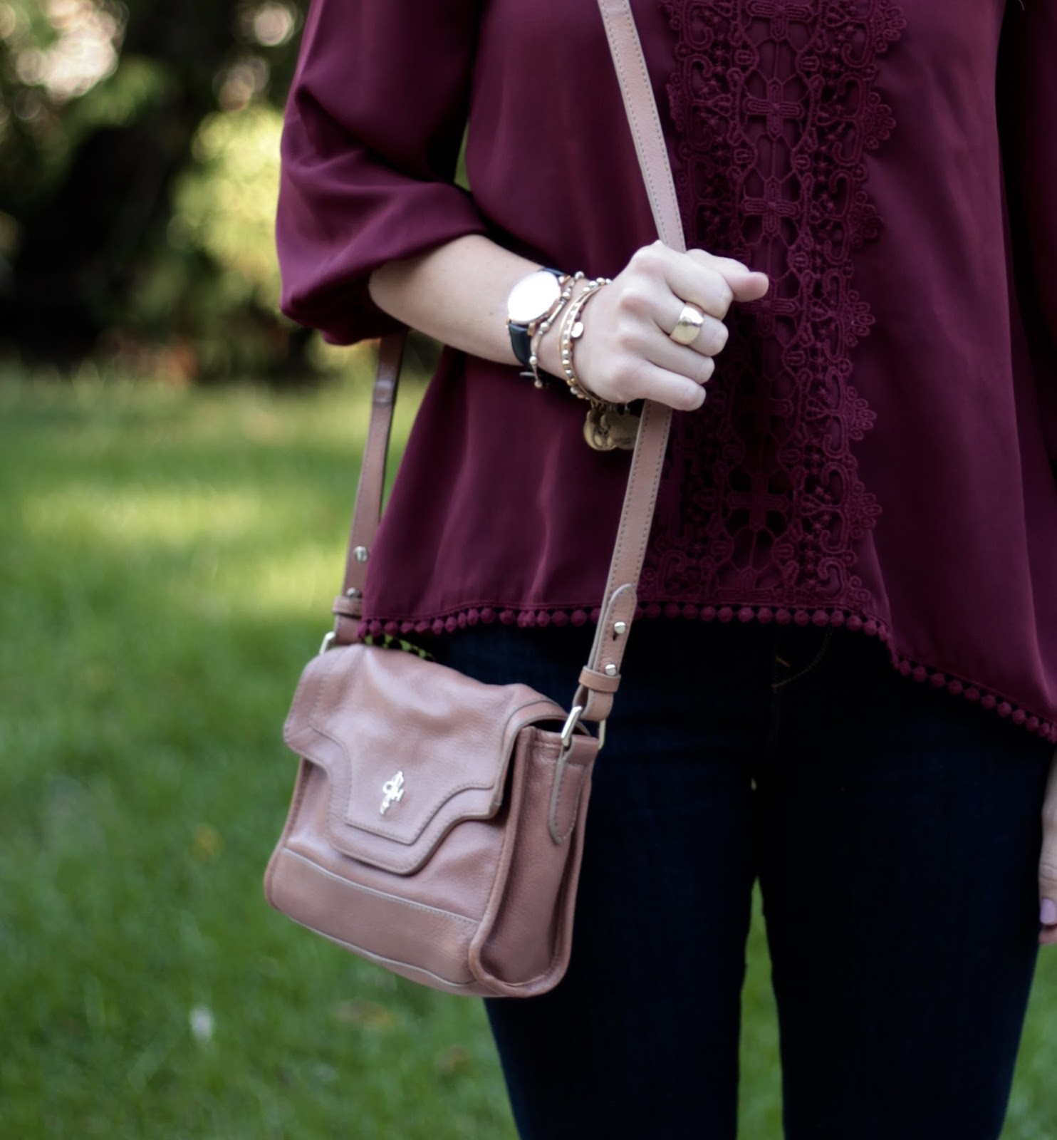 two casual fall outfits by Tulip, plaid poncho, Express dark rinse jeggings, panama hat, Michael Kors saddlebag, Sole Society Valencia boots, burgundy blouse, blush crossbody bag, blush laser cute heels