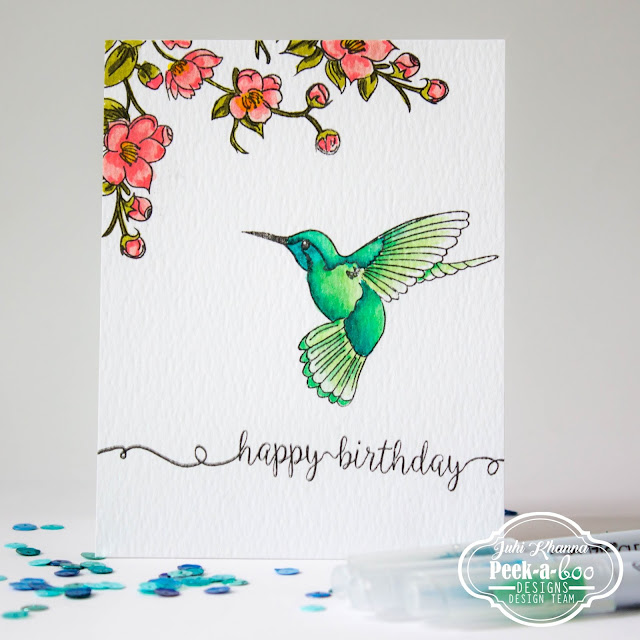 Peek-a-boo Designs Humming Bird colored with zig real brush markers