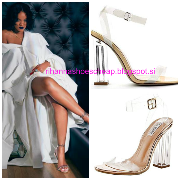 98e9ef1b154f2 RIHANNA shoes cheap 5: Manolo Blahnik Rihanna Purple Chalice Ankle Clear  Strap Sandals